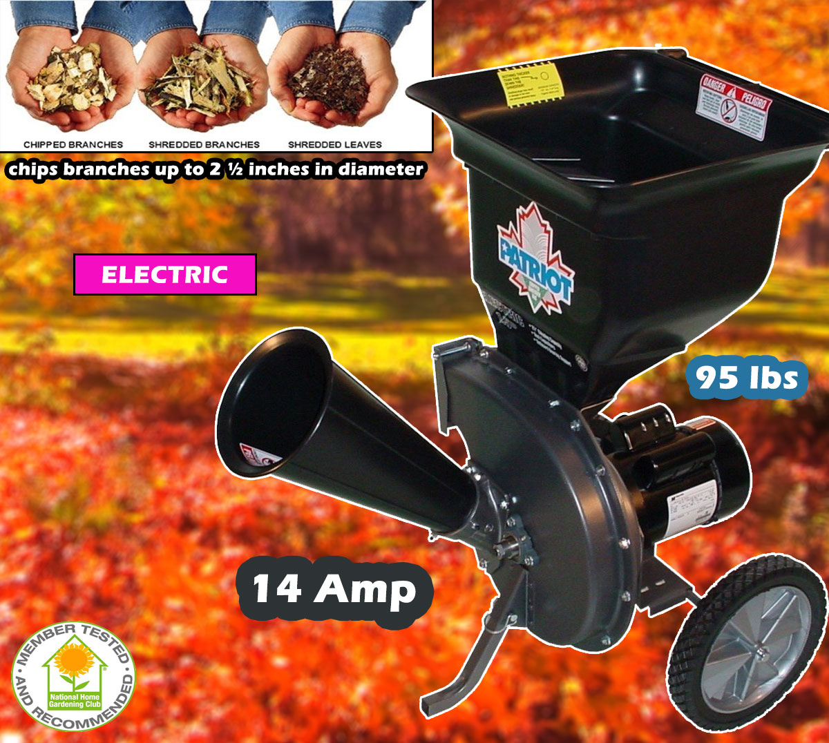 Patriot Products CSV-2515 Wood Chipper Leaf Shredder